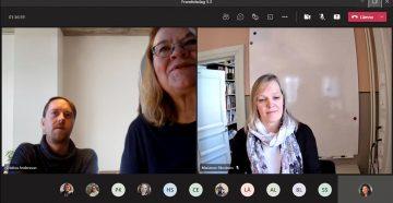 skärmdump från videomöte tre personer på sina skärmar